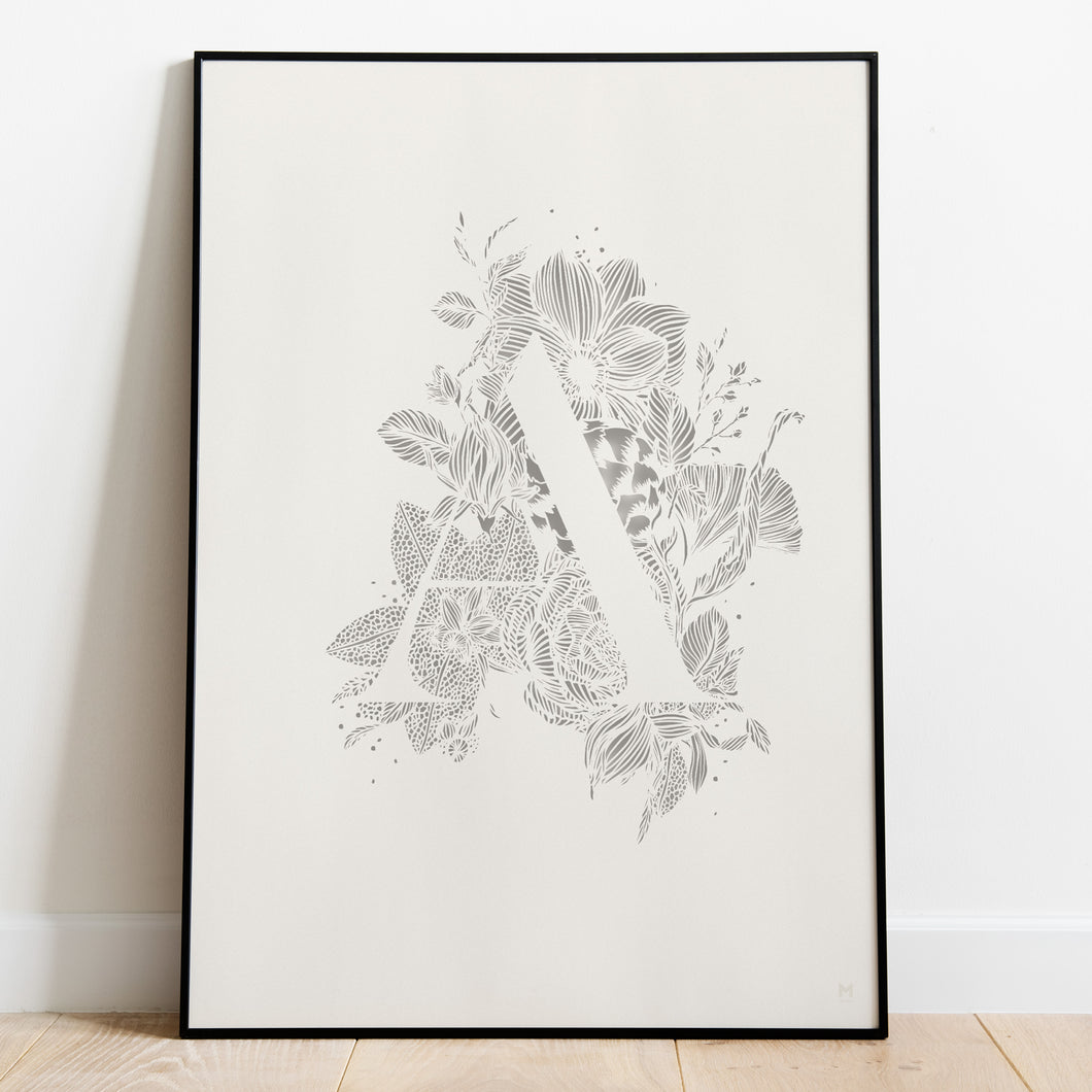 Botanical Alphabet Paper Cut Wall Art