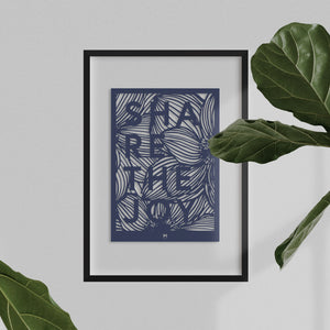 Positive 'Share the Joy' affirmation laser cut wall art in dark blue card