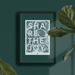 Share the Joy laser cut wall art in light blue card