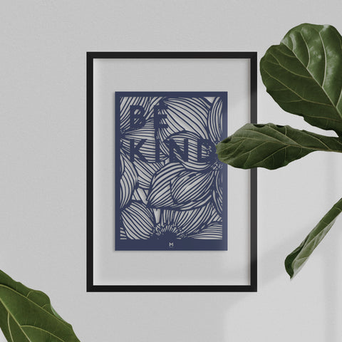 Be Kind laser cut wall art in dark blue card