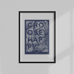 choose happy typographical laser cut wall art in dark blue card and black frame
