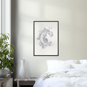 Large Botanical Letter C art print in black frame