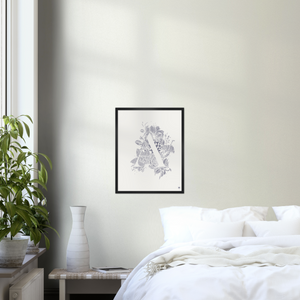 Botanical Letter A art print in black frame