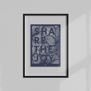 Share the Joy laser cut wall art in dark blue card in black frame
