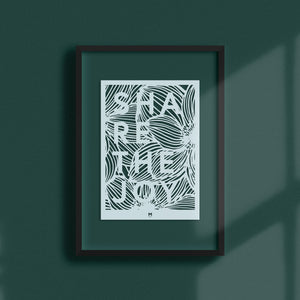 Share the Joy laser cut wall art in light blue card in black frame