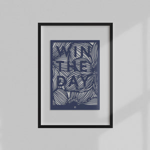 Win the Day laser cut positive affirmation wall art in dark blue card