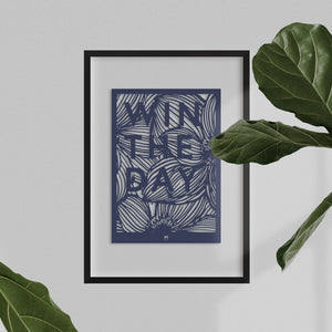 Win the Day laser cut positive affirmation wall art in dark blue card with white wall showing through