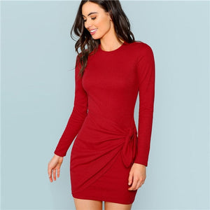 c6aba3dd11 Sheinside Red Autumn Party Dress Women Elegant Bodycon Sexy Dresses 2018  Womens Clothes Ladies Knotted Wrap