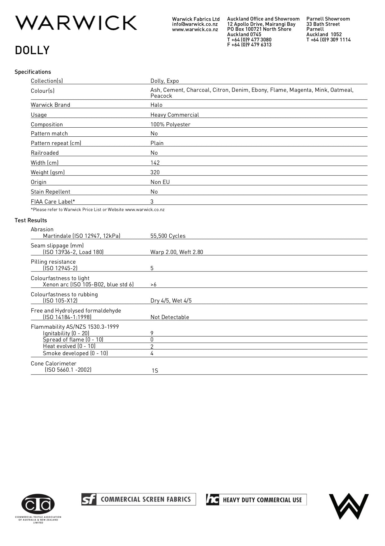 dolly product spec sheet