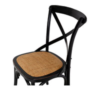 crossed back chair aged black 3