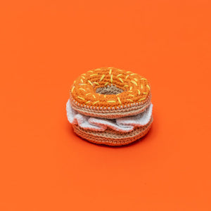 Hand Crochet Bagel & Cream Cheese Toy
