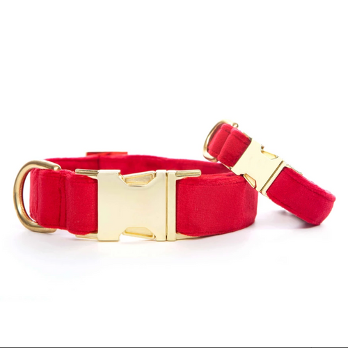Cranberry Velvet Dog Collar