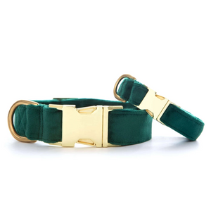 Forest Green Velvet Dog Collar