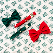 Load image into Gallery viewer, Forest Green Velvet Dog Bow Tie