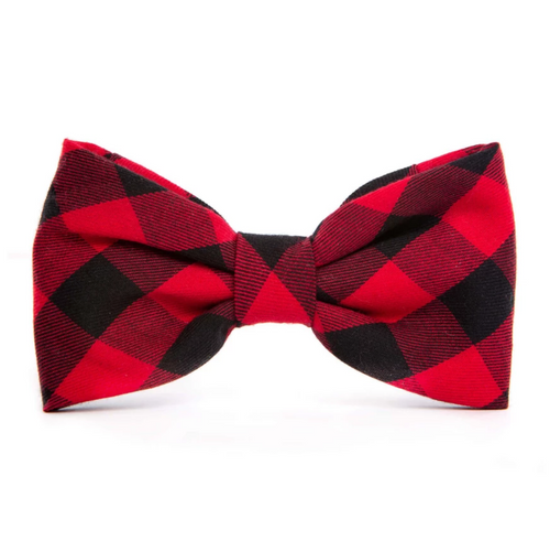 Red and Black Buffalo Check Dog Bow Tie
