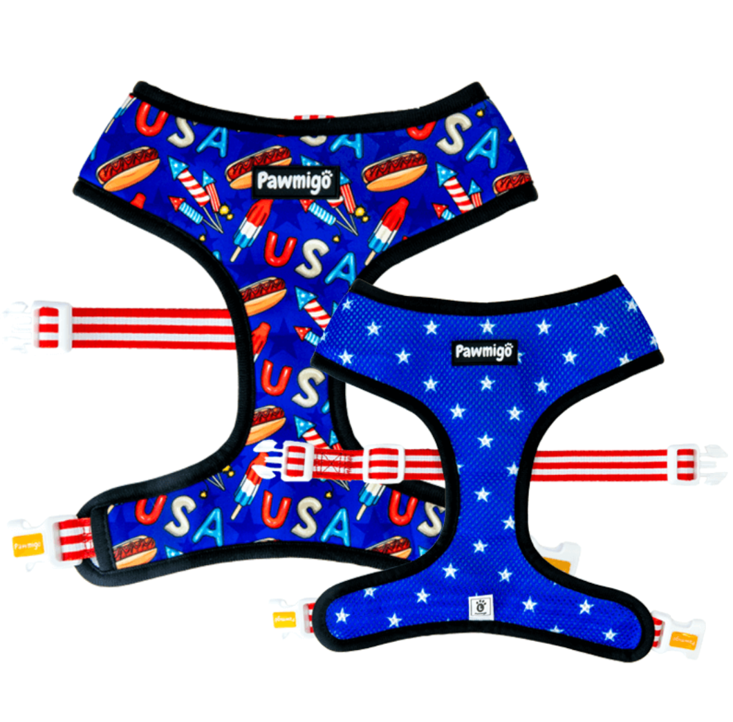 Red, White, and Bark Reversible Harness