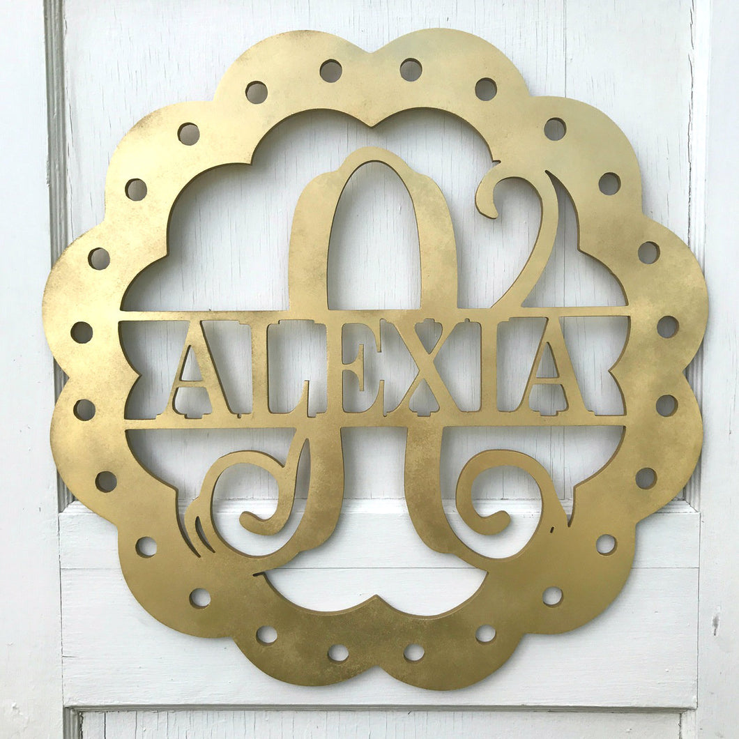 Scalloped Edge full monogram & name with ribbon holes