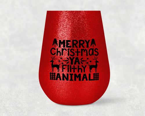 Christmas Glitter Tumbler - Glitter Stemless Stainless Steel Insulated Tumbler - Glitter Tumbler - Merry Christmas Ya Flithy Animal