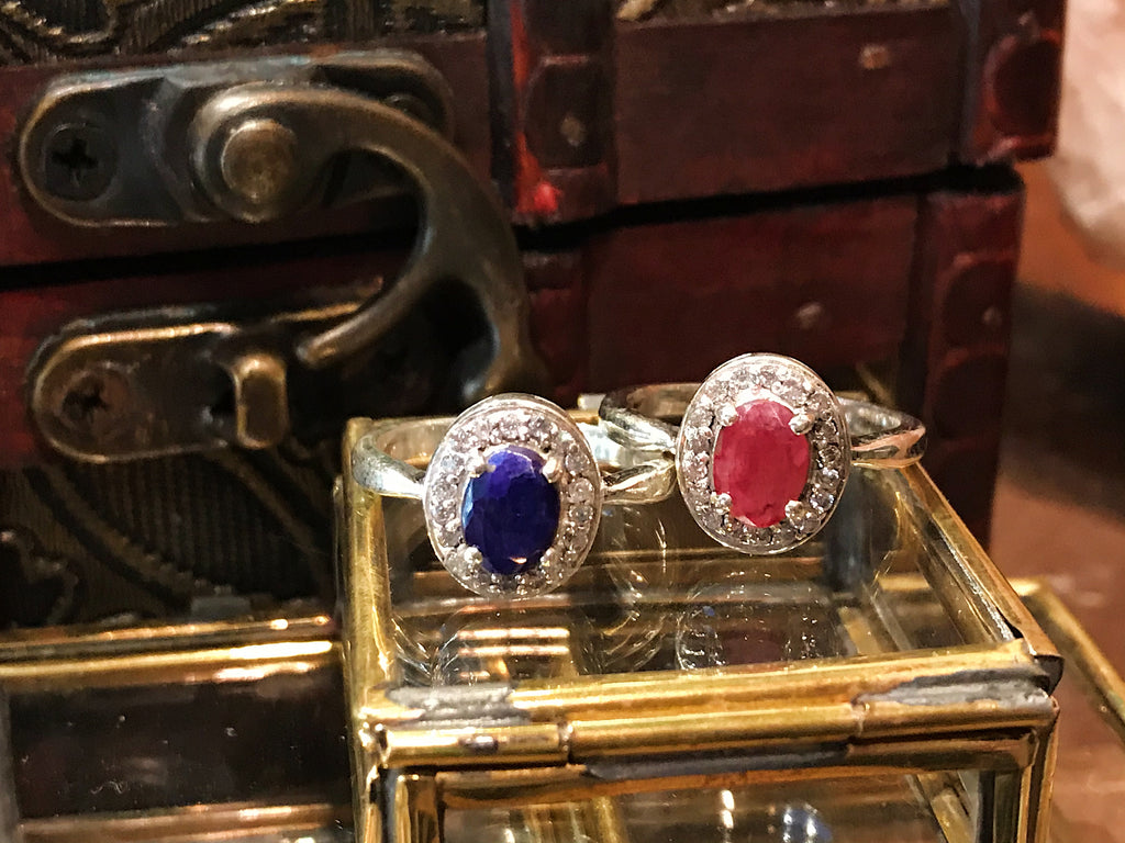 Zirconia and Semi-precious Sapphire and Semi-precious Ruby Isolda Ring - Jewels & Gems