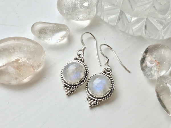 Moonstone Cassia Dot Earrings - Jewels & Gems