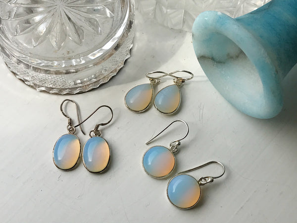 Opalite Akoni Earrings Oval, Tear Drop & Round - Jewels & Gems