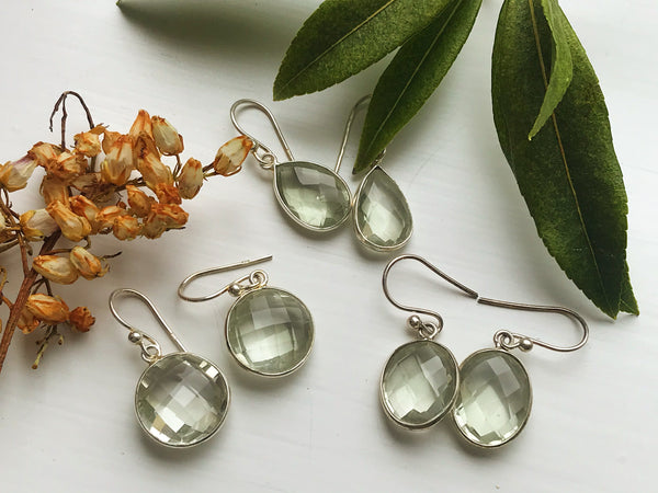 sterling silver green amethyst prasiolite earrings