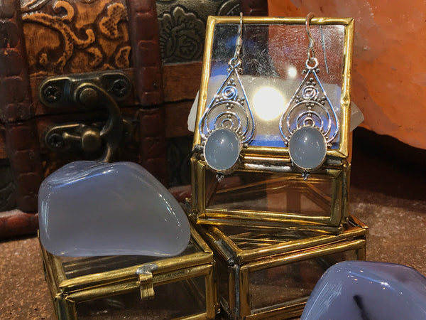 Blue Chalcedony Iria Earrings - Jewels & Gems