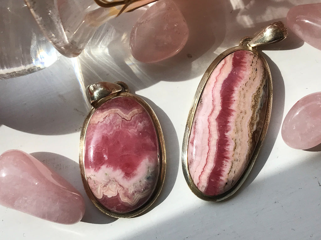 Rhodochrosite Ariel Pendants Oval & Long Oval - Jewels & Gems