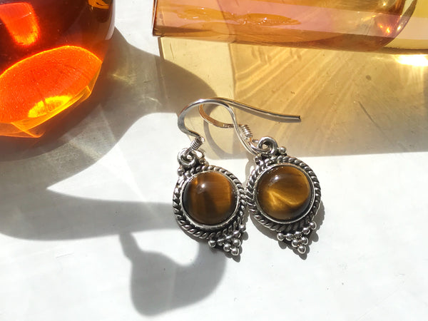 Tiger's Eye Cassia Dot Earrings - Jewels & Gems
