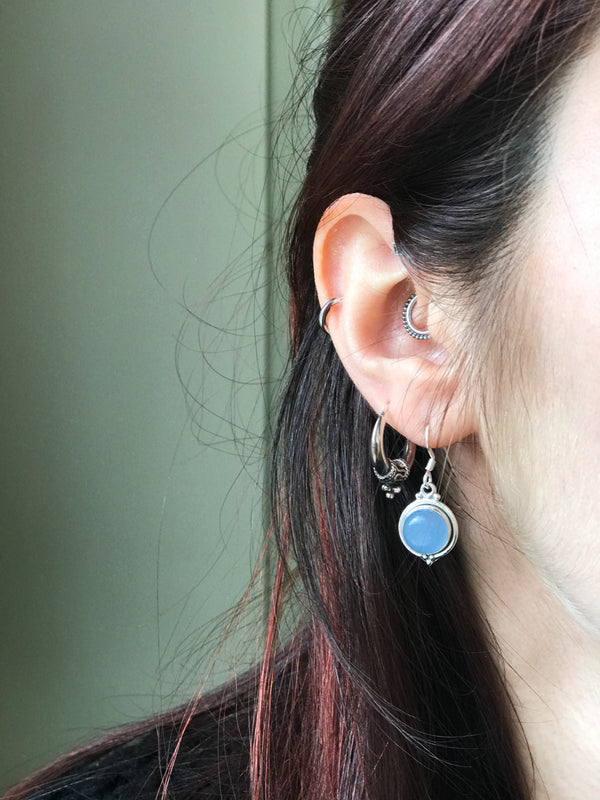 Blue Chalcedony Ari Dot Earrings - Jewels & Gems