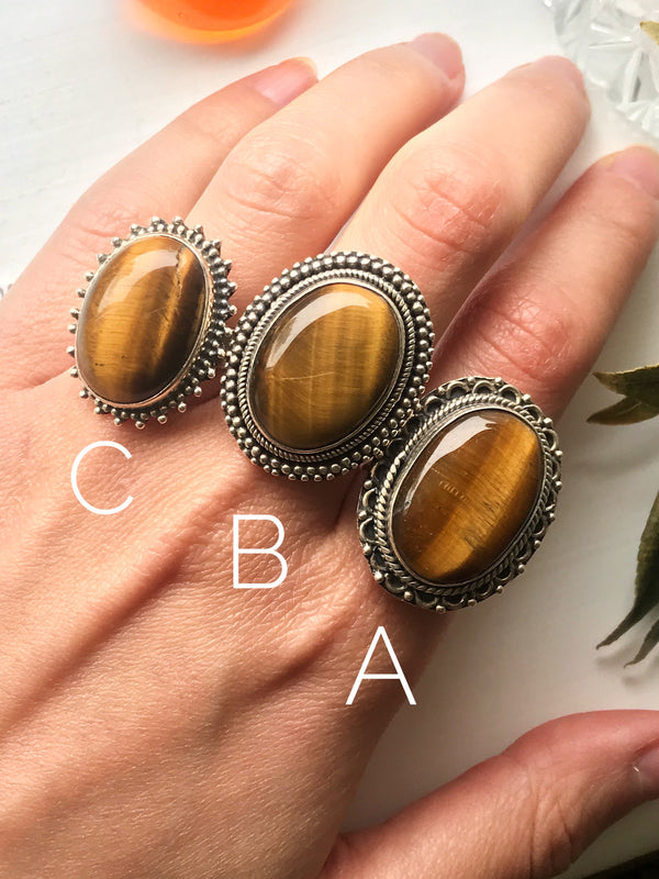 Tiger's Eye Adjustable Rings - Jewels & Gems