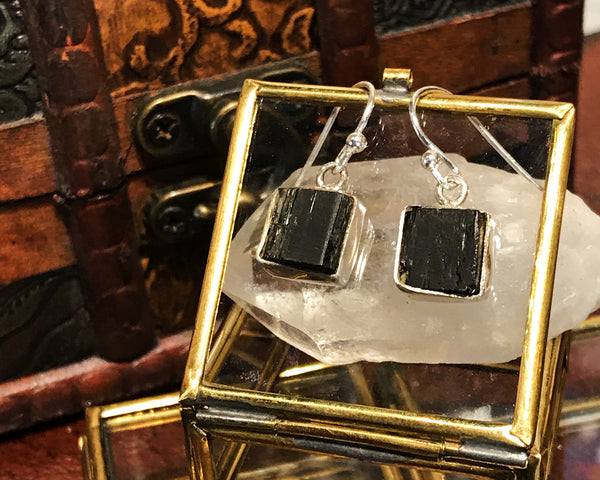 Black Tourmaline Akoni Earrings Square and Oval - Jewels & Gems