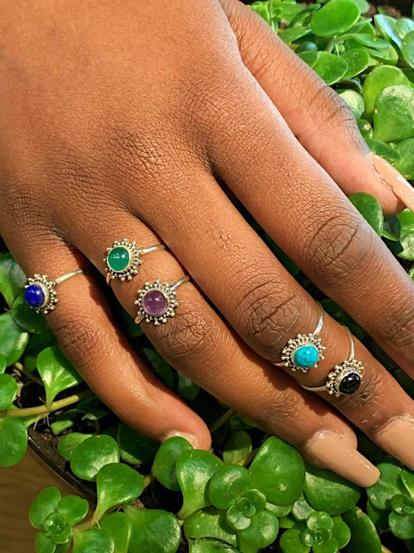Mini Sole Ring in Amethyst, Lapis Lazuli, Onyx & Turquoise - Jewels & Gems