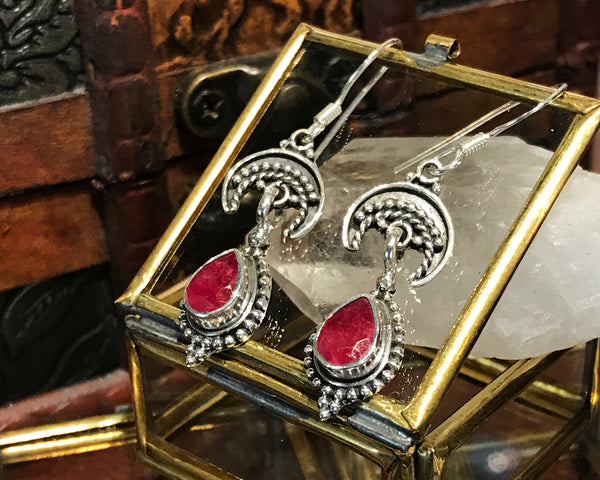 Semi-precious Ruby Luna Earrings - Jewels & Gems