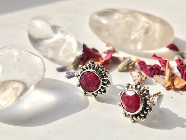 Semi-precious Ruby Sole Studs - Jewels & Gems