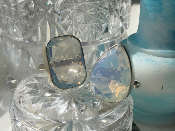 Opalite Akoni Rings Faceted Cut Drop & Square - Jewels & Gems