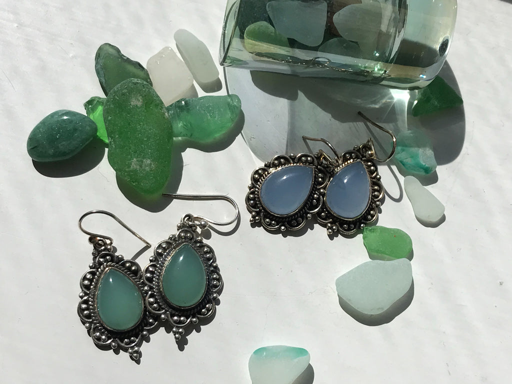 Green / Blue Chalcedony Nissa Earrings - Jewels & Gems