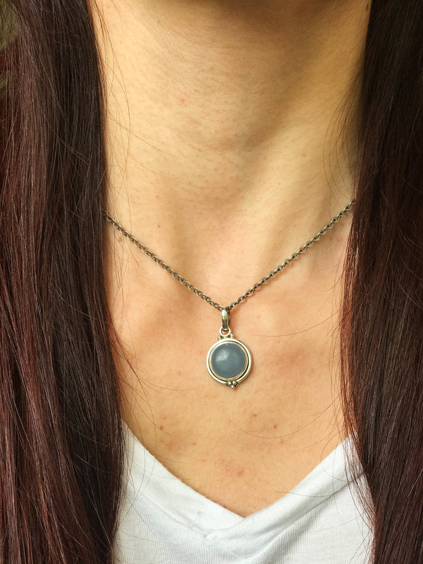 Blue Chalcedony Ari Dot Pendant - Jewels & Gems