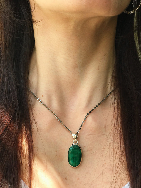 Semi-precious Emerald Ari Pendant Oval & Tear Drop - Jewels & Gems