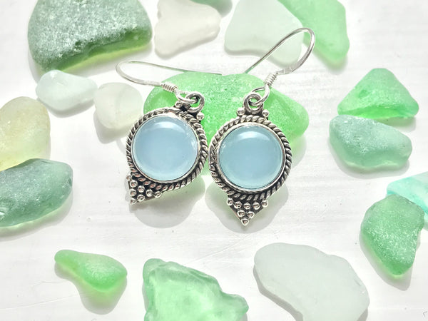 Blue Chalcedony Cassia Dot Earrings - Jewels & Gems
