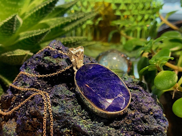 Semi-precious Sapphire Akoni Pendant Oval Tear Dropo - Jewels & Gems