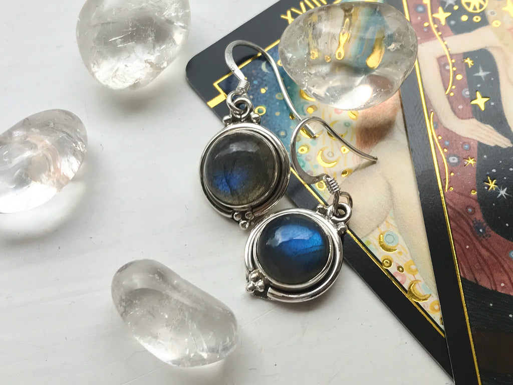 Labradorite Ari Dot Earrings - Jewels & Gems