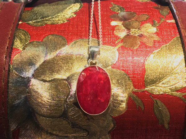 Semi-precious Ruby Akoni Pendant Oval - Jewels & Gems