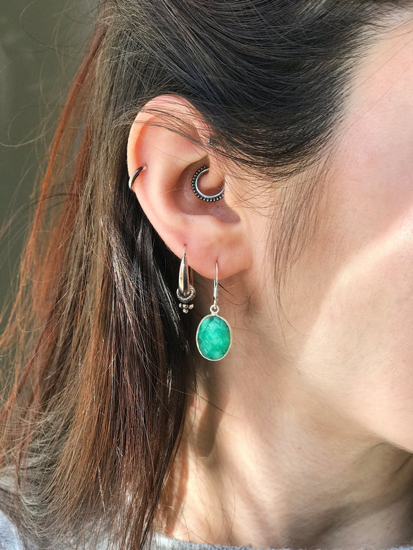 Semi-precious Emerald Akoni Earrings Oval & Tear Drop Faceted Cut - Jewels & Gems