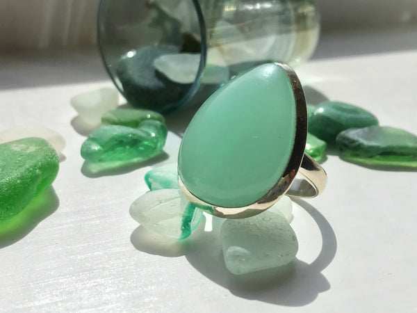 Chalcedony Ariel Ring Large Tear Drop - Jewels & Gems