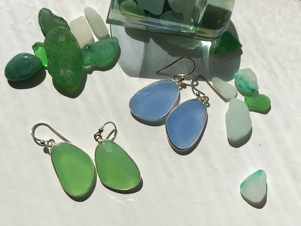 Chalcedony Adora Medium Earrings Green & Blue - Jewels & Gems