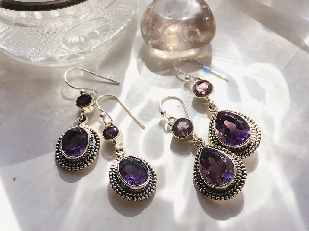 Amethyst Cassia Earrings Tear Drop/Oval - Jewels & Gems