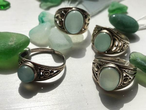 Chalcedony Chunky Band Rings - Jewels & Gems
