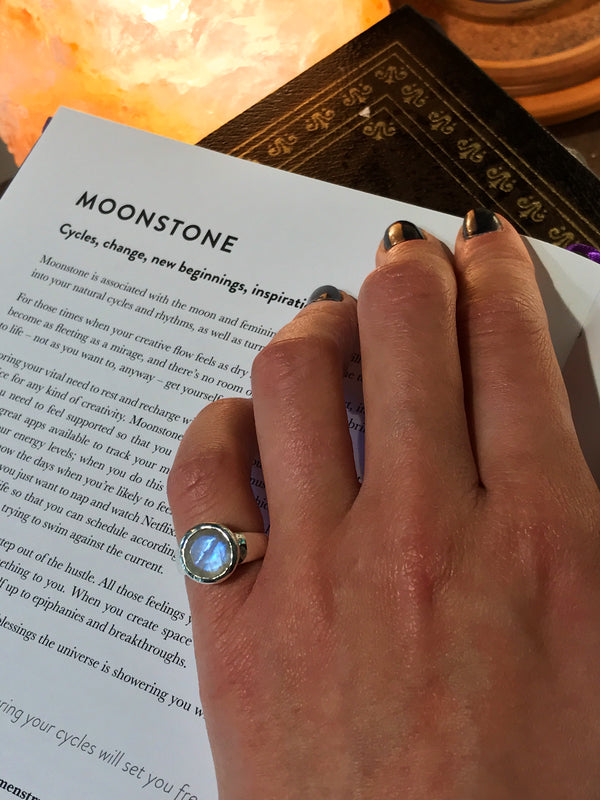 sterling silver moonstone ring