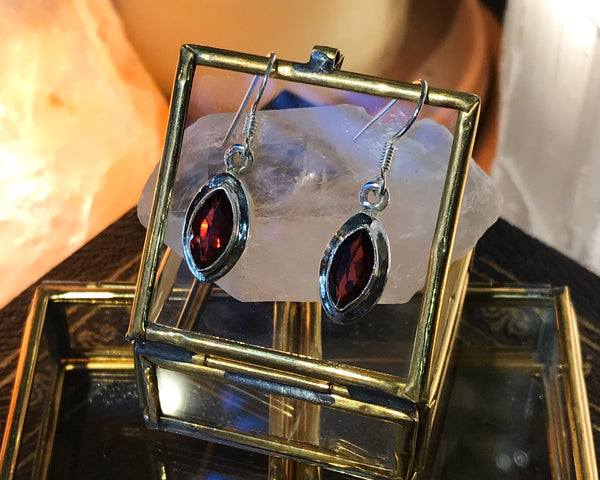 Garnet Ari Earrings Almond - Jewels & Gems